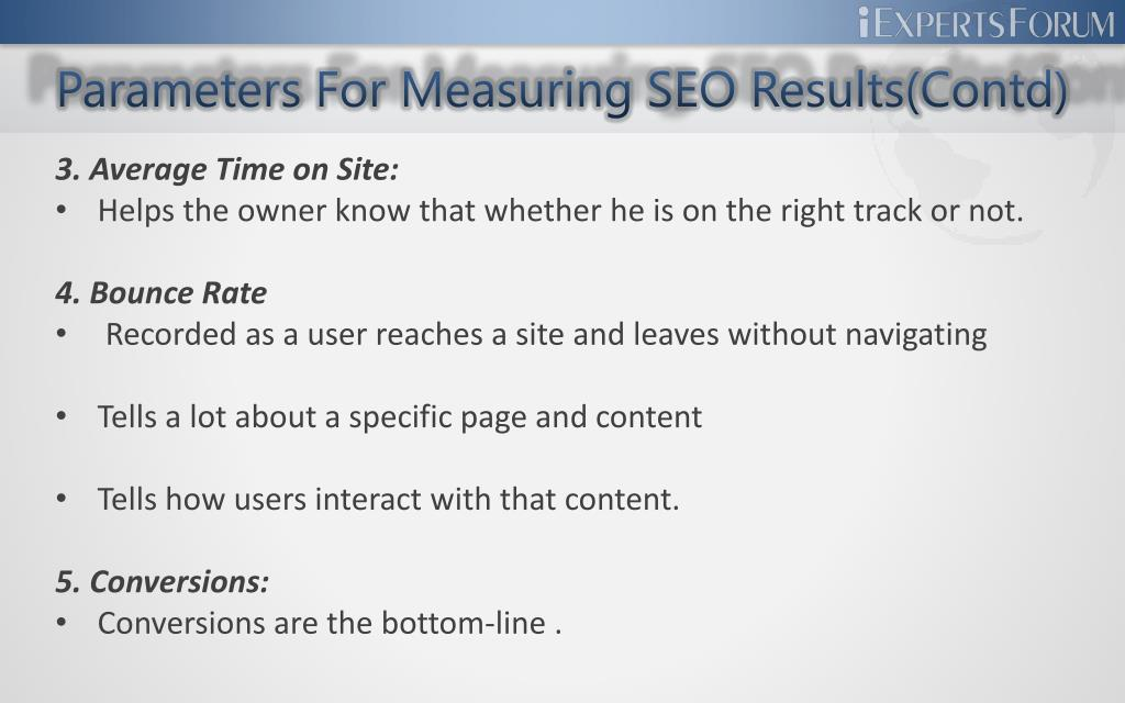 Parameters For Measuring SEO Results(Contd)