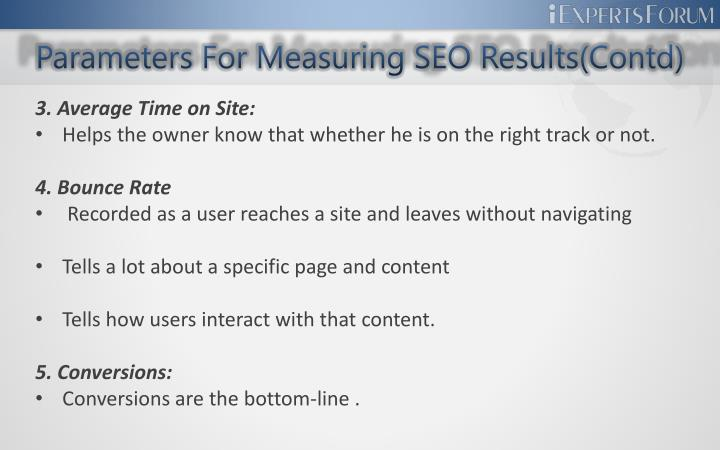 Parameters for measuring seo results contd