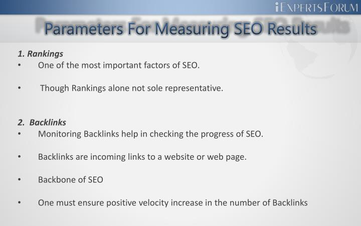 Parameters for measuring seo results