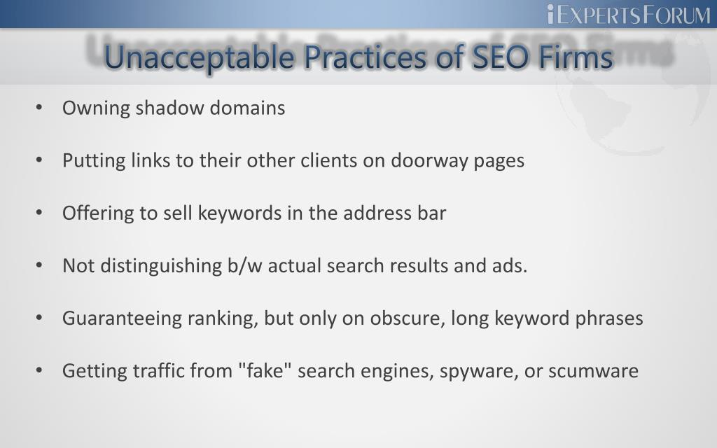 Unacceptable Practices of SEO Firms