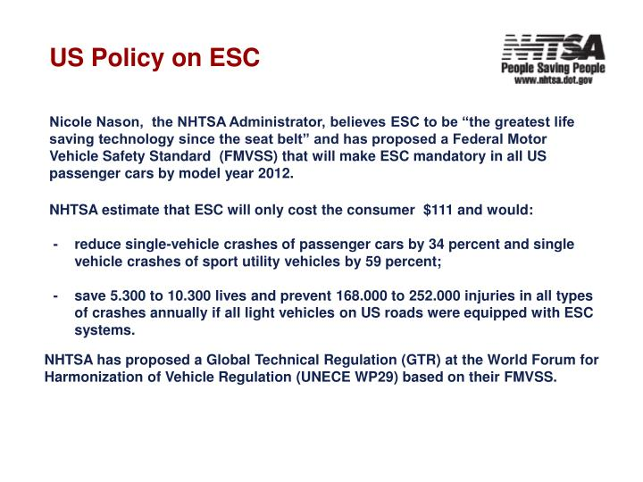 US Policy on ESC