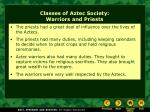 classes of aztec society warriors and priests
