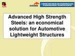 advanced high strength steels an economical solution for automotive lightweight structures