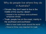 why do people live where they do in australia