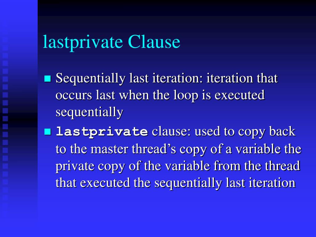 lastprivate Clause