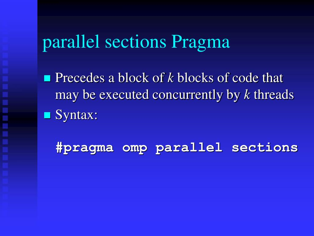 parallel sections Pragma
