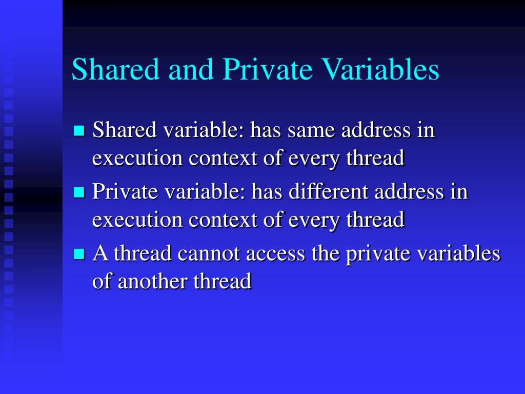 Shared and Private Variables