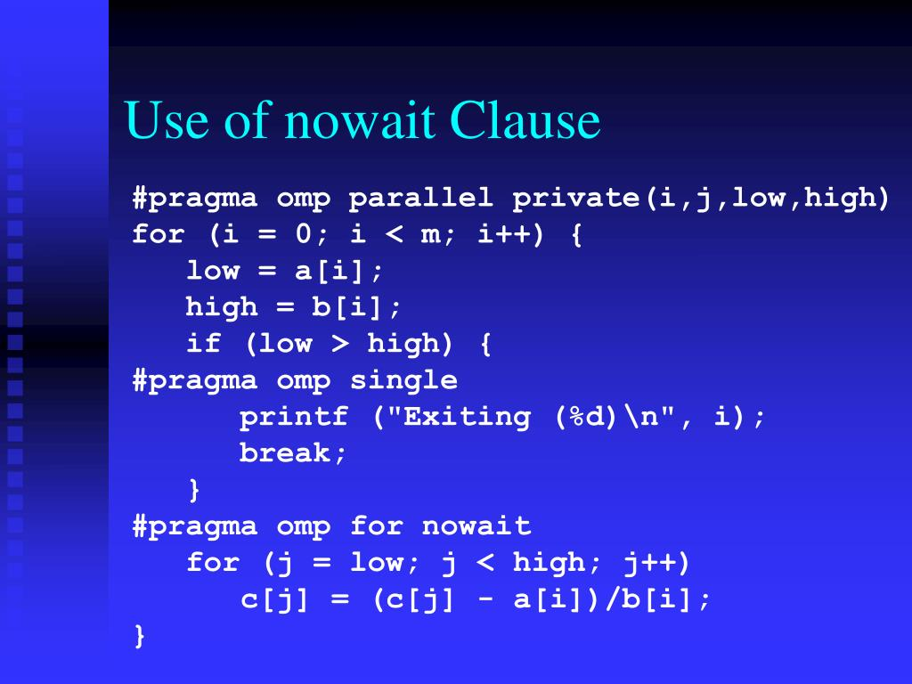 Use of nowait Clause