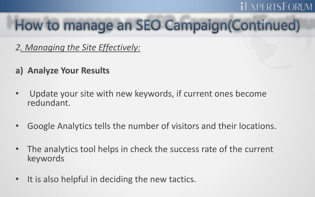 How to manage an SEO Campaign(Continued)