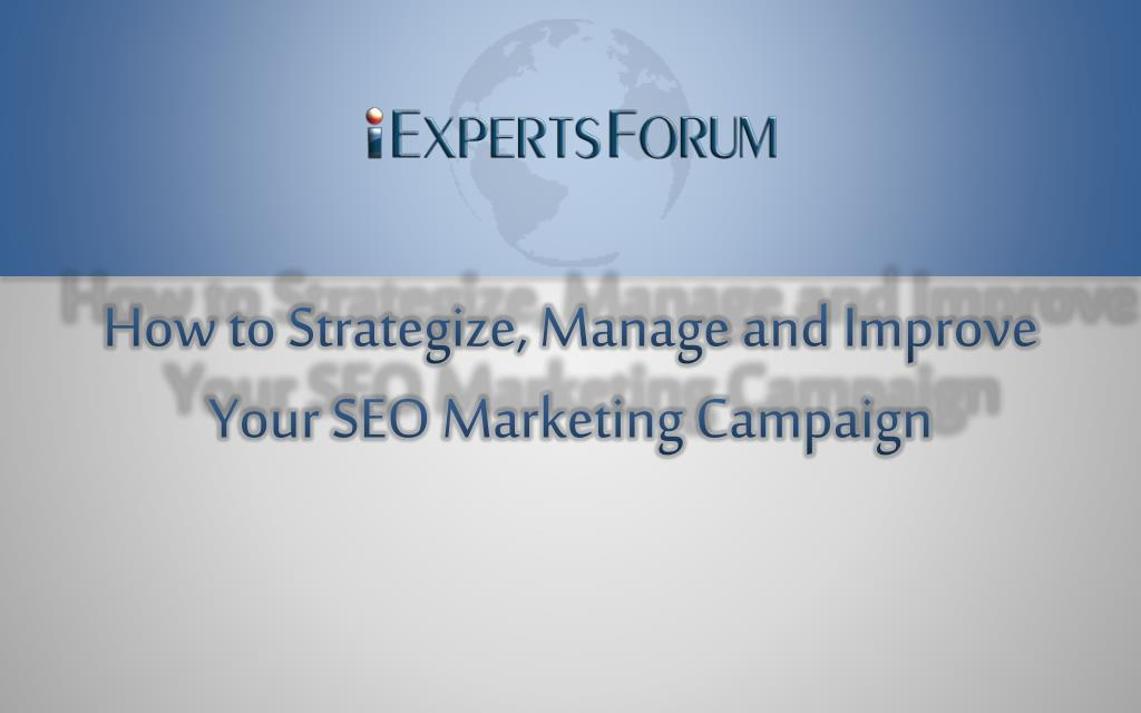 how to strategize manage and improve your seo marketing campaign l.