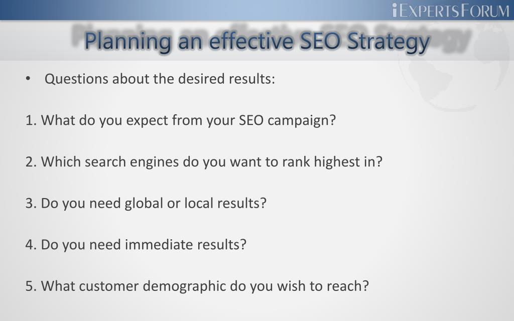 Planning an effective SEO Strategy