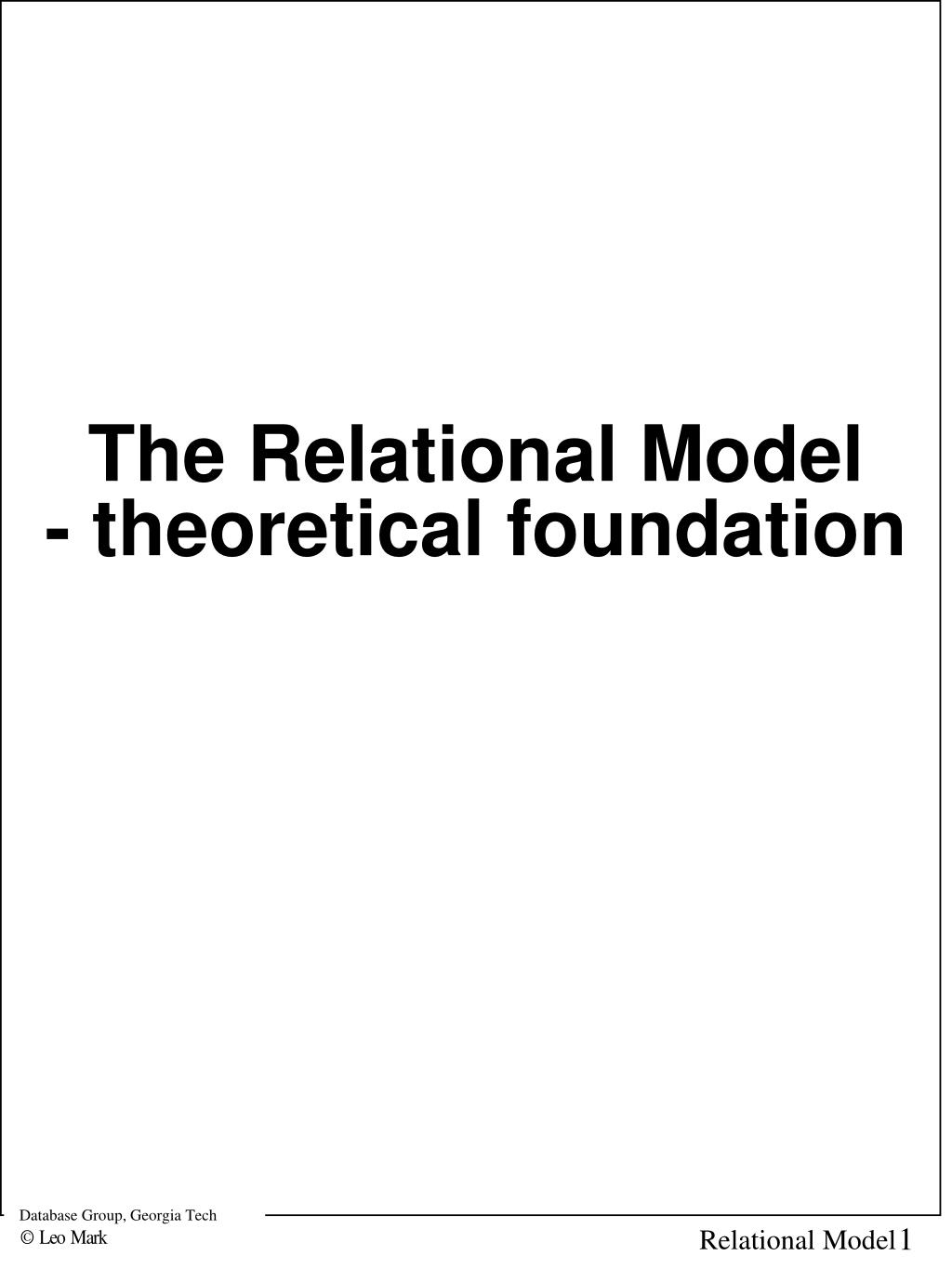 the relational model theoretical foundation l.