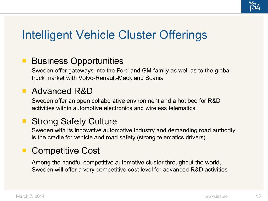 Intelligent Vehicle Cluster Offerings