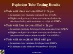 explosion tube testing results