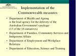 implementation of the commonwealth measures