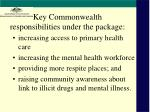 key commonwealth responsibilities under the package
