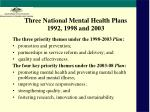 three national mental health plans 1992 1998 and 2003