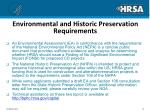 environmental and historic preservation requirements