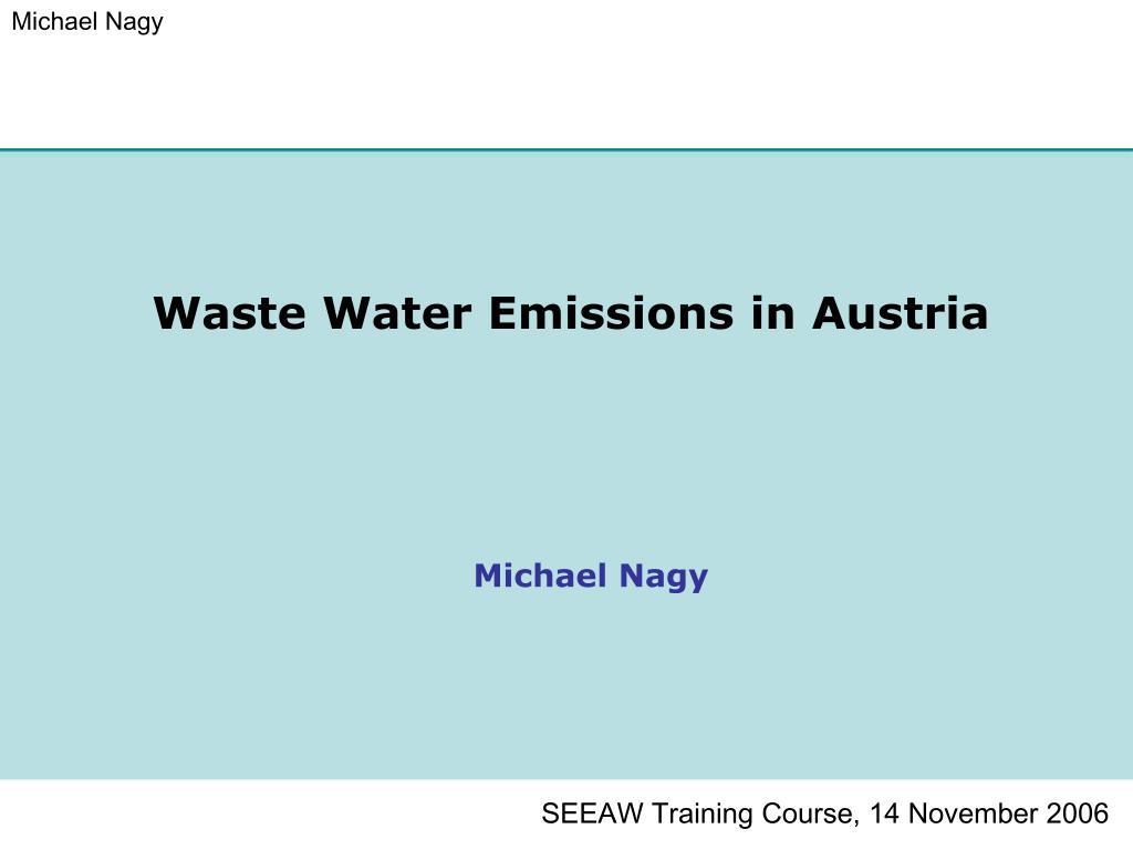 waste water emissions in austria l.
