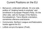 current positions on the eu