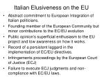 italian elusiveness on the eu
