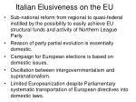italian elusiveness on the eu30
