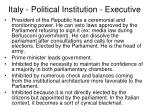 italy political institution executive