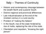 italy themes of continuity