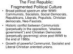 the first republic fragmented political culture