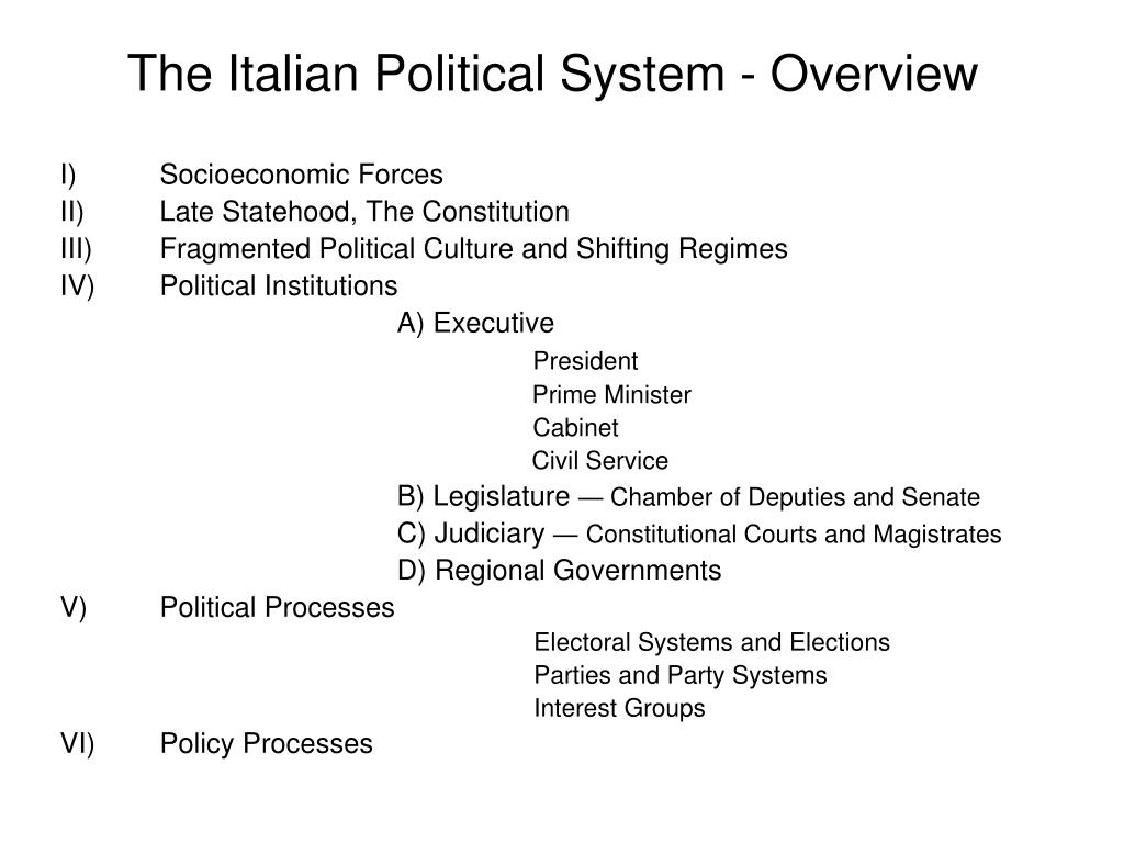 the italian political system overview l.