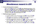 miscellaneous research in jcr
