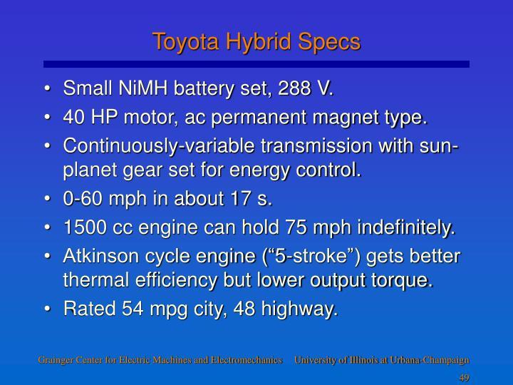 Toyota Hybrid Specs