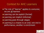 context for ahc learners