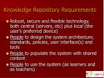 knowledge repository requirements
