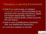 managing a learning environment