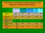 accuracy of endovaginal ultrasonography in the diagnosis of diffuse adenomyosis