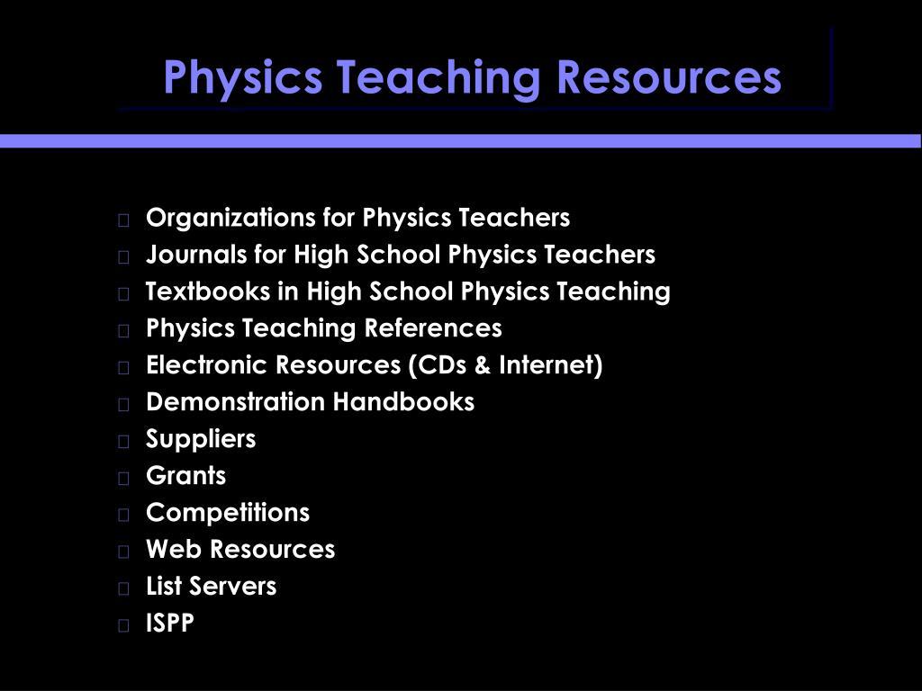 physics teaching resources l.
