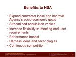 benefits to nsa