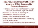 nsa provisional industrial security approval pisa sponsorship program purposes