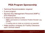 pisa program sponsorship
