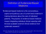 definition of evidenced based medicine