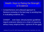 health keys to rating the strength of evidence