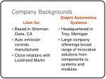company backgrounds