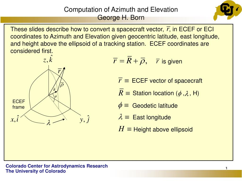 computation of azimuth and elevation george h born l.
