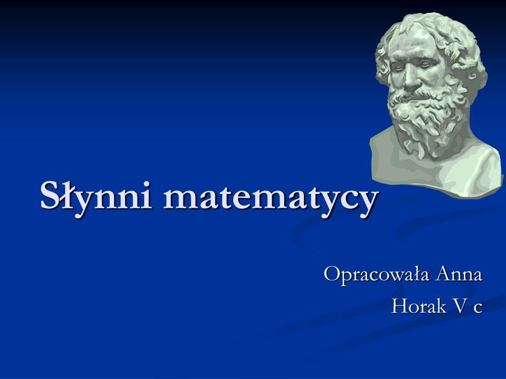 s ynni matematycy l.
