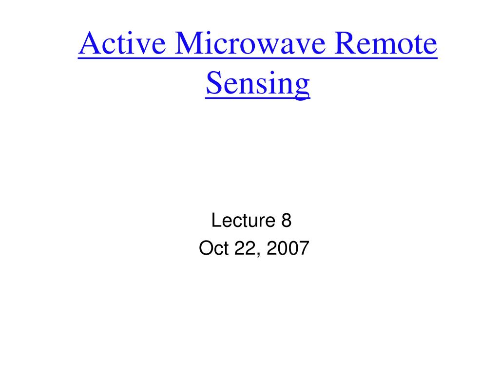 active microwave remote sensing l.