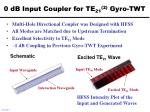 0 db input coupler for te 21 2 gyro twt