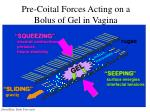 pre coital forces acting on a bolus of gel in vagina