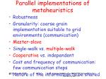 parallel implementations of metaheuristics
