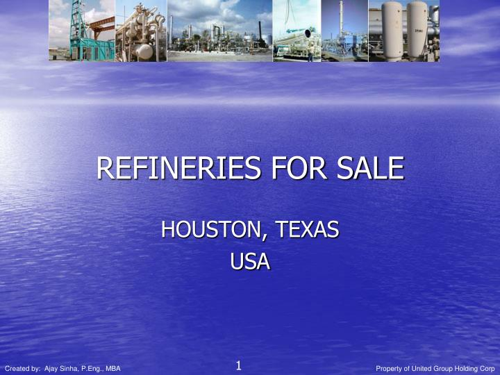 refineries for sale n.